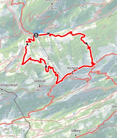 Karte / Hochgrat über Brunnenauscharte