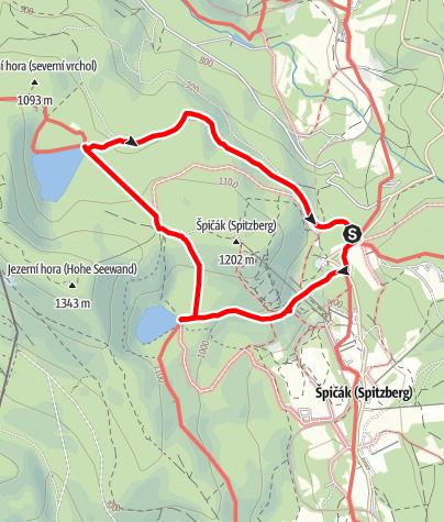 Karte / Böhmerwaldrunde Spicak Sedlo (Sattel) Teufelsee Schwarzer See [Rundwanderng]