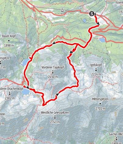 Karte / Seebensee mit Coburger Hütte und hinterem Tajatörl