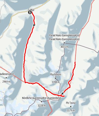 Karte / Galtür - Jamtalhütte - Kronenjoch - Heidelberger Hütte