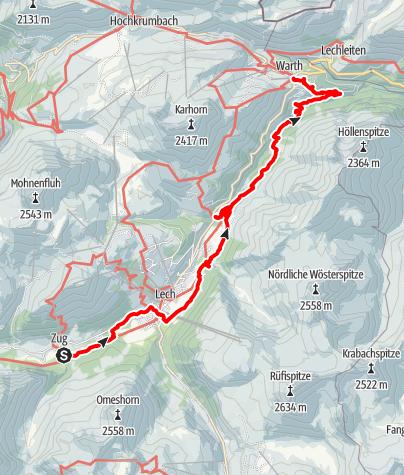 Karte / 2. Etappe Lechweg, von Zug nach Warth