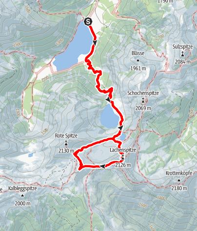 Karte / Lachenspitze Klettersteig + Steinkarspitze Runde 11. August 2019