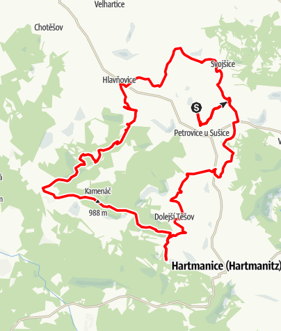 Karte / From Petrovice over Keply direction Hartmanice - only MTB