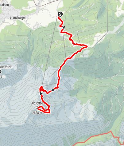 Map / Heavy climb up the Alpspitze