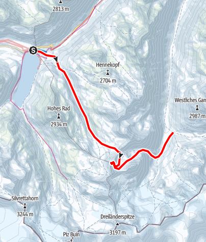 Map / Silvretta Skidurchquerung - Etappe 1: Bielerhöhe - Jamtalhütte