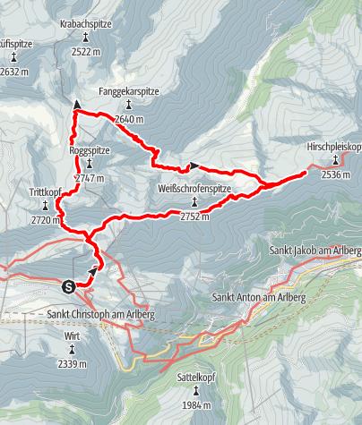 Karte / Valluga Rundtour