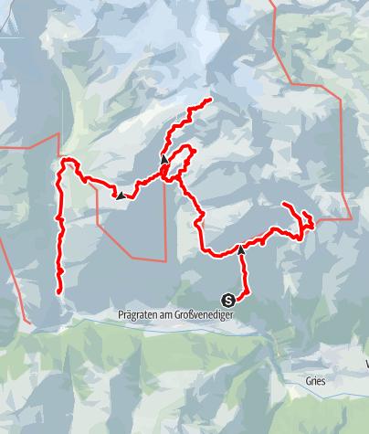 Karte / Huttentocht 2020 Virgental: lange variant