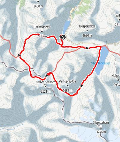Karte / Alpine Wanderung über die 3 schönsten Pässe im Silvrettagebiet