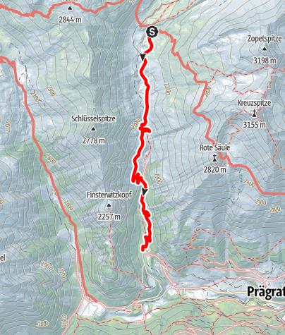 Karte / 2020 dag 6 Voorstel huttentocht Virgental