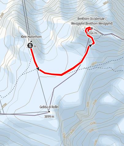 Karte / Breithorn Besteigung