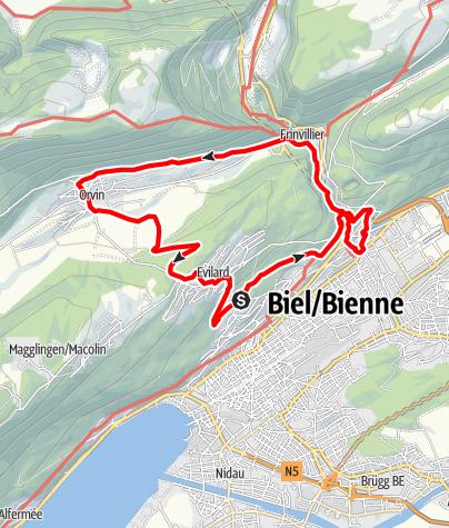 Map / PW Biel BE, 20 km Strecke