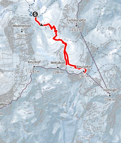 Karte / Weittalkopf und Kreuzspitze