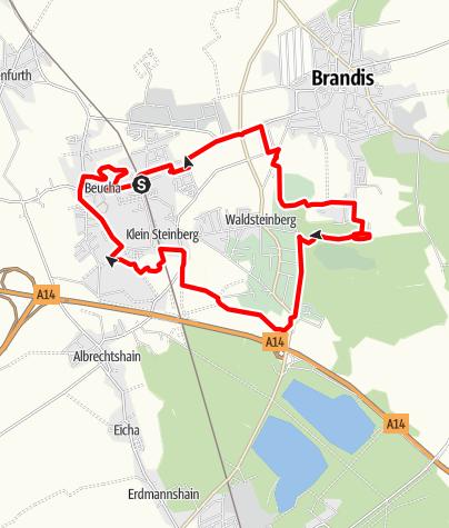 Karte / 7-Brüche-Wanderung zwischen Beucha und dem Kohlenberg zu Brandis