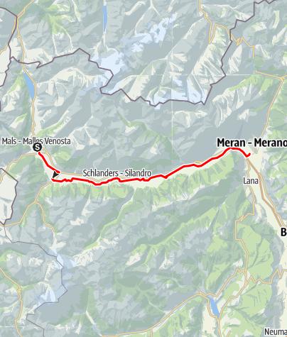 Karte / Radweg Vinschgau: Von Mals nach Meran
