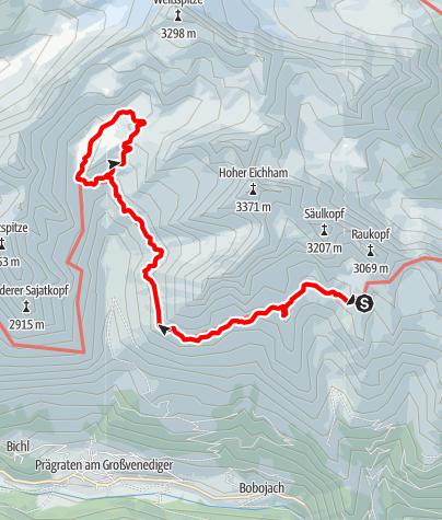 Karte / 2020 dag 3a Voorstel huttentocht Virgental