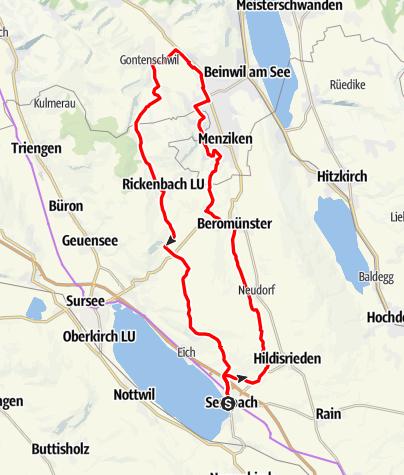 Karte / Sempach-Schlachtfeld-Beromünster-Zetziwil (Rundtour)