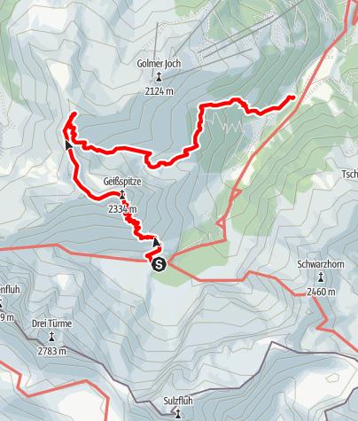 Karte / Montafon 5 - Lindauer Hütte - Gauertalhaus