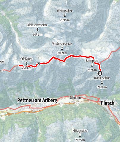 Karte / Eagle Walk Stage 23: Ansbacher Hütte - Kaiserjochhaus