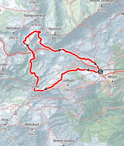 Karte / Vier-Seen-Wanderung