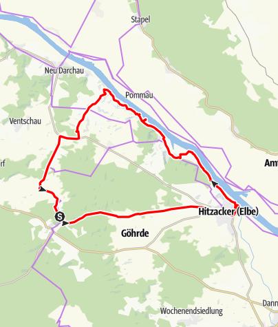 Karte / Dübbekold Hitzacker entlang der Elbe über Sammatz zurück
