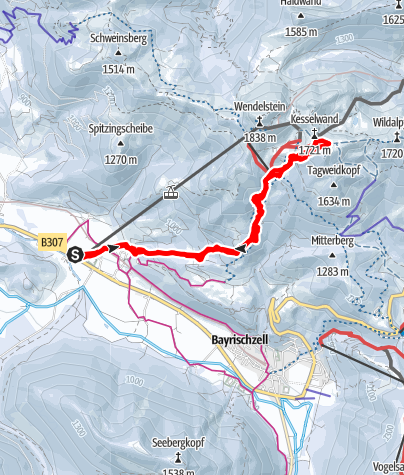 Karte / Lacherspitz, 1724m - von Westen; Aufstieg- und Abfahrt im Angesichts des Wendelsteins!