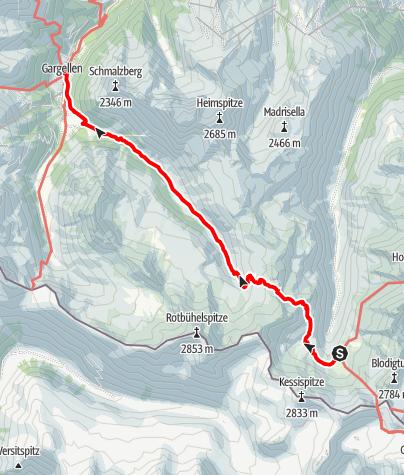 Karte / Montafoner Hüttenrunde - Tübinger Hütte nach Gargellen