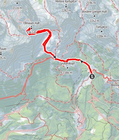 Karte / Ellmauer Halt, Ausgangspunkt Gaudeamushütte