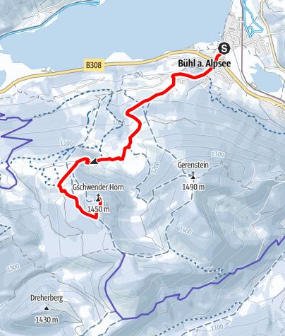 Karte / Dein Freiraum.Mein Lebensraum - Vom Alpsee auf's Gschwender Horn (1.450m)