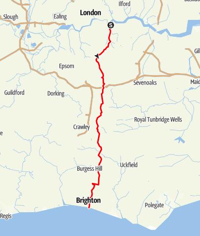 Karte / London (Greenwich) to Brighton