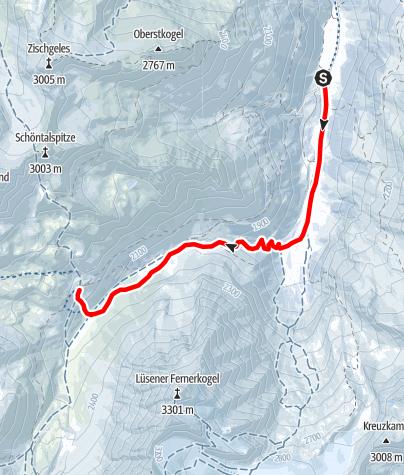 Karte / SHR im Winter: Lüsens-Westfalenhaus, 3. Etappe Sellrainer Hüttenrunde
