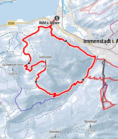 Karte / Mit Schneeschuhen aufs Immenstädter Horn