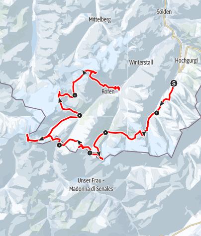 """Map / Venter Skirunde (""""Ötztaler Haute Route"""") im Uhrzeigersinn"""