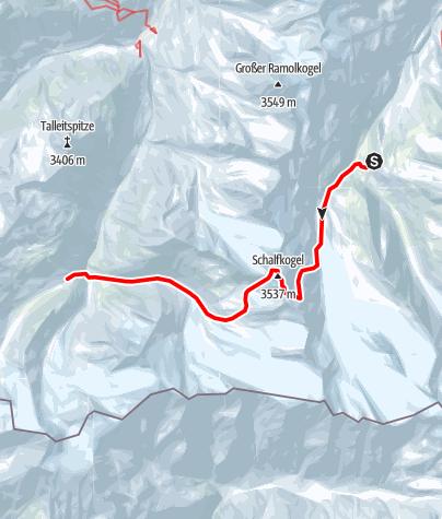 Map / Venter Skirunde im UZS, Etappe 2: Langtalereckhütte - Schalfkogel - Martin-Busch-Hütte