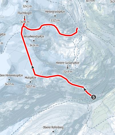 Map / Venter Skirunde im UZS, Etappe 6: Hochjochhospiz - Fluchtkogel - Vernagthütte