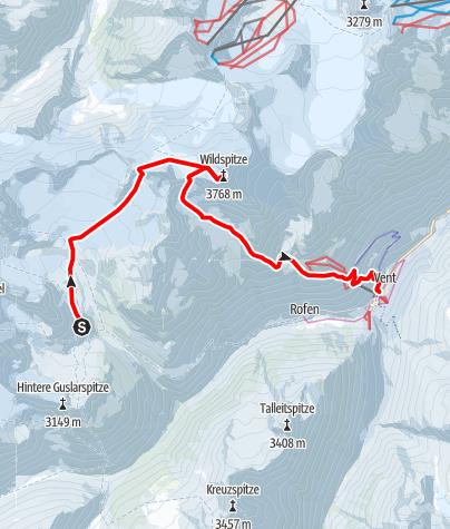 Map / Venter Skirunde im UZS, Etappe 7 (letzte): Vernagthütte - Wildspitze - Vent
