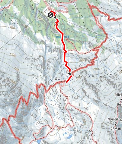 Karte / Familientour: Das Raurisertal - Nationalpark Hohe Tauern - 2. Etappe: Naturfreundehaus Kolm Saigurn (1598 m) - Naturfreundehaus Neubau  (2176 m)