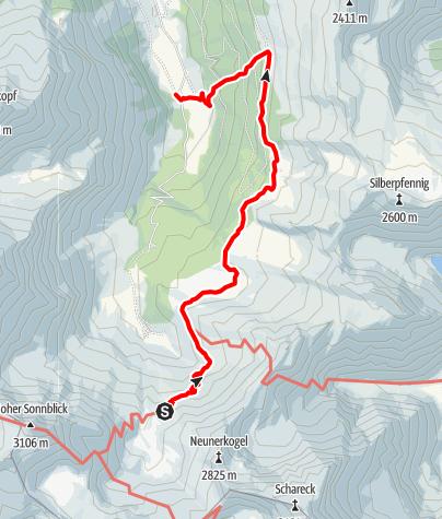 Karte / Familientour: Das Raurisertal - Nationalpark Hohe Tauern - 3. Etappe: Naturfreundehaus Neubau (2176 m) - Mautstelle Bodenhaus (1230 m)