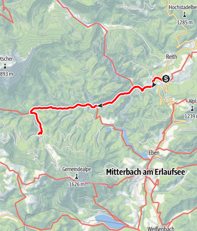 Karte / Familientour: Der Ötscher - 1. Etappe: Bahnhof Wienerbruck (795 m) - Schutzhaus Vorderötscher (888 m)