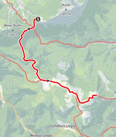 Karte / Familientour: Der Ötscher - 3. Etappe: Ötscher Schutzhaus (1418 m) - Brachalm (1468 m)