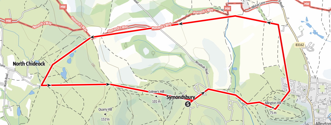 Karte / Symondsbury 5 miles