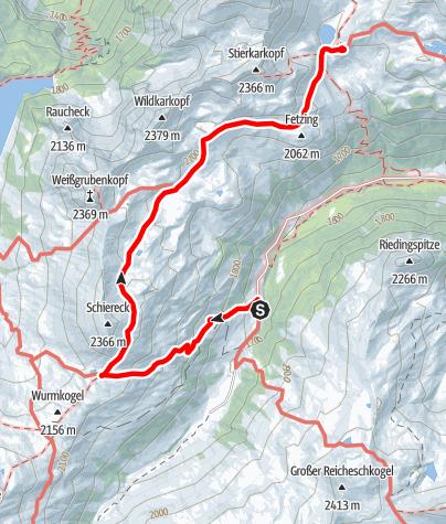 Karte / Familientour: Lungauer Seentour - 3. Etappe: Königalm (1667 m) - Franz-Fischer-Hütte (2020 m)
