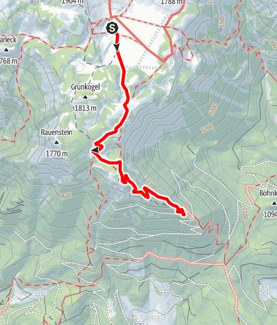 Karte / Familientour: Die Schneealm/Schneealpe - 4. Etappe: Michlbauerhütte (1731 m) - Kohlebnerstand (1450 m)
