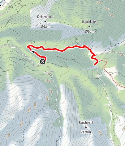 Karte /  Familientour: Lienzer Dolomiten - 1. Etappe: Parkplatz Klammbrücke (1100 m) - Dolomitenhütte (1620 m)