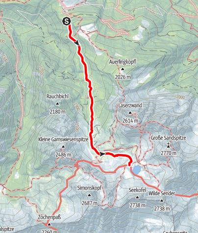 Karte / Familientour: Lienzer Dolomiten - 2. Etappe: Dolomitenhütte (1620 m) - Karlsbader Hütte (2260 m)