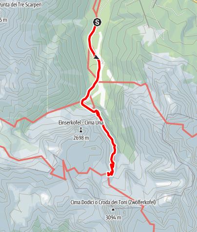 Map / Familientour: Rund um die Drei Zinnen - 1. Etappe: Parkplatz Fischleinboden (1454 m) - Zsigmondy-Hütte (2224 m)