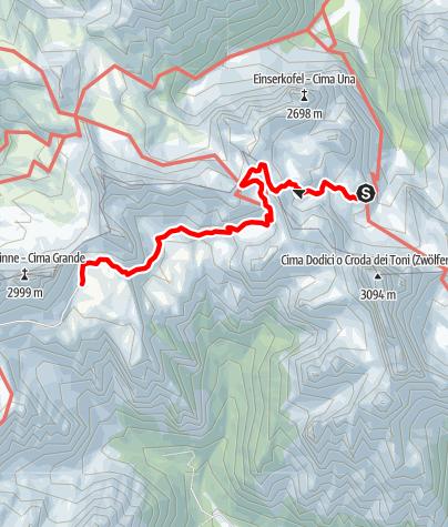 Map / Familientour: Rund um die Drei Zinnen - 2. Etappe: Zsigmondy-Hütte (2224 m) - Lavaredohütte (2344 m)