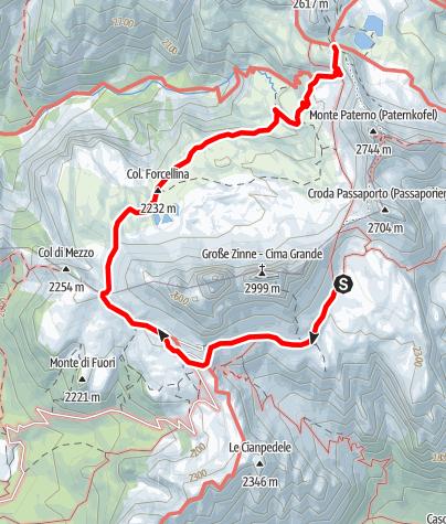Map / Familientour: Rund um die Drei Zinnen - 3. Etappe: Lavaredohütte (2344 m) - Drei-Zinnen-Hütte (2405 m)