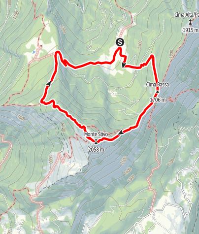 Karte / Von der Malga Campo zum Monte Stivo, Gardas Balkon