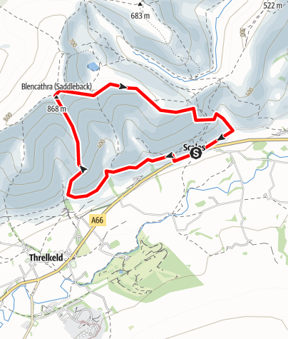 Karte / Blencathra via Hall's Fell and Scales