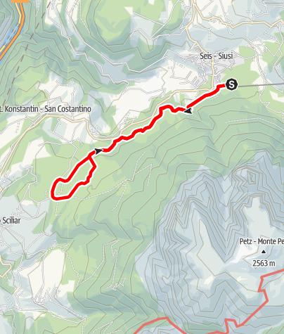 Karte / Völser Weiherweg, 1084 m - Von Seis zum Völser Weiher, zum Huberweiher und zurück
